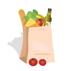 Paper Bag With Food vector image