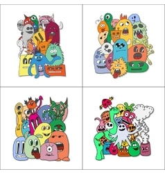 Set of four stickers monsters vector