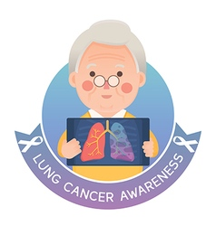 Senior man with lung cancer ribbon awareness vector