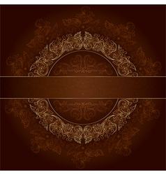 Floral gold frame with vintage patterns on brown vector image