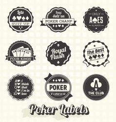 Vintage poker labels vector
