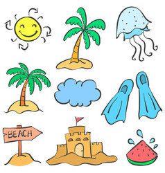 Summer holiday object of doodle vector