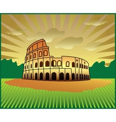 Landscape with roman colosseum vector