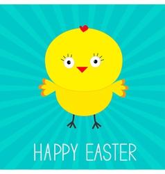 Easter chicken sunburst card vector