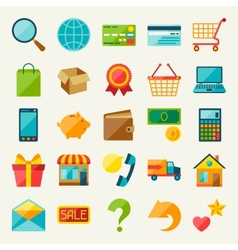 Internet shopping icon set in flat design style vector
