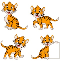 cute tiger cartoon collection vector image
