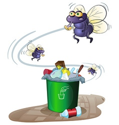 Garbage and flies vector image