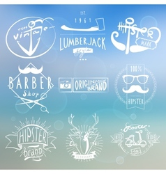 Hipster white vintage labels background vector