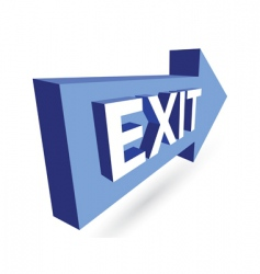3d exit and arrow vector