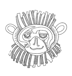 Monkey hand drawing outline cartoon isolated vector