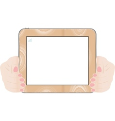hands holding touch screen vector image