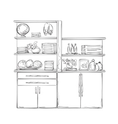 Kitchen cupboard furniture with wares vector
