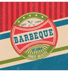 Barbecue bbq grill logo stamp retro poster vector