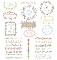 Doodles hand drawn line border with logoframes vector