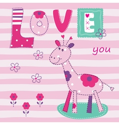 Baby background with cute giraffe vector