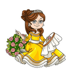 beautiful princess sitting on a bench near a bush vector image