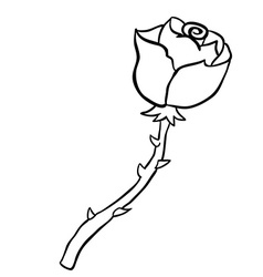 black and white freehand drawn cartoon rose vector image vector image