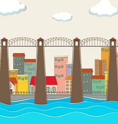 Bridge over the river and city vector