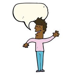 Cartoon happy man waving with speech bubble vector