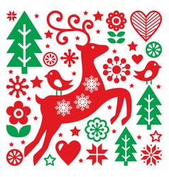 christmas red and green pattern scandinavian folk vector image