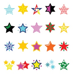 Colorful star icons isolated on white vector image