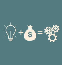 Concept of investment idea plus money equals gears vector