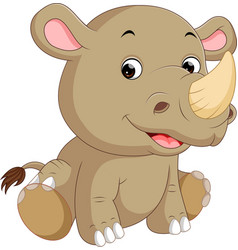 Cute rhino cartoon vector