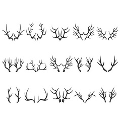 Deer horns silhouettes vector