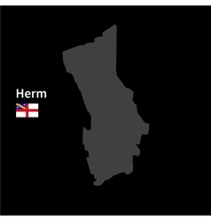 Detailed map of herm with flag on black background vector