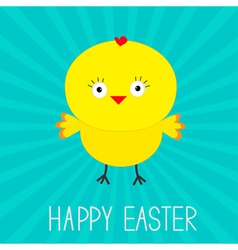 Easter chicken Sunburst Card vector image vector image