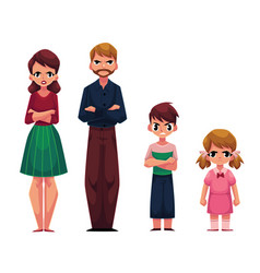 Family of four standing with frowned angry face vector
