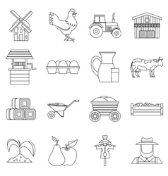 Farm icons set outline style vector