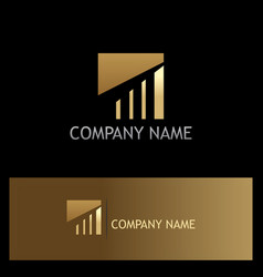Gold square line business logo vector