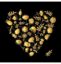 Golden heart with flowers for your design vector image vector image