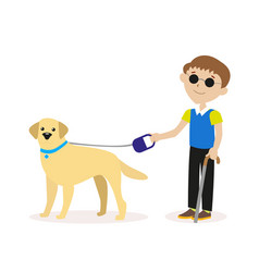 guide-dog blind boy with guide dog disability vector image vector image