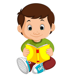 Kids boy reading book cartoon vector