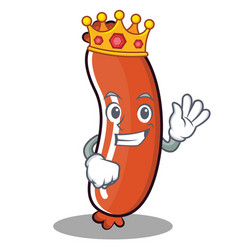 King sausage character cartoon style vector