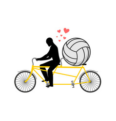 Lover volleyball guy and football ball on tandem vector