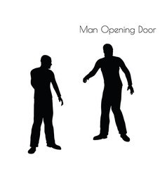Man in opening door pose vector