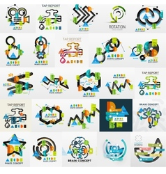 Mega collection of line and sticker vector