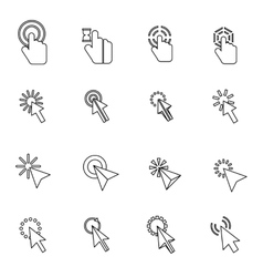 Mouse pointer icons set thin line style vector image