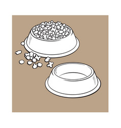 Plastic bowls empty and filled with pet cat dog vector