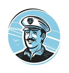 Portrait of happy smiling captain sailor vector