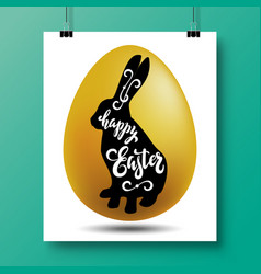 Poster with a handwritten phrase-happy easter and vector