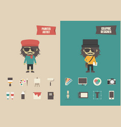 Retro and modern artist vector