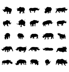 Rhino silhouettes set vector