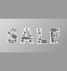 sale banner made up from realistic different vector image vector image