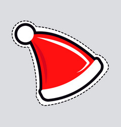 Santa claus red hat with white line patch it vector