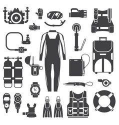scuba diving and snorkeling gear icons vector image