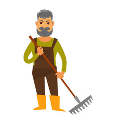 Senior man isolated in brown overall holds rake vector